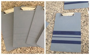 Clipboards before and after stripes