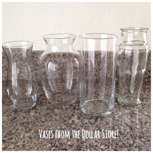 Glass vases from the dollar store