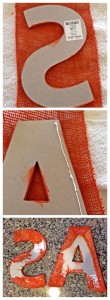 Glue burlap to the letters