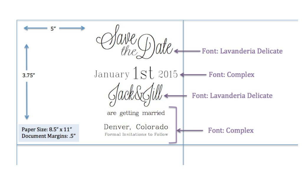 Formatting guidelines for save the date