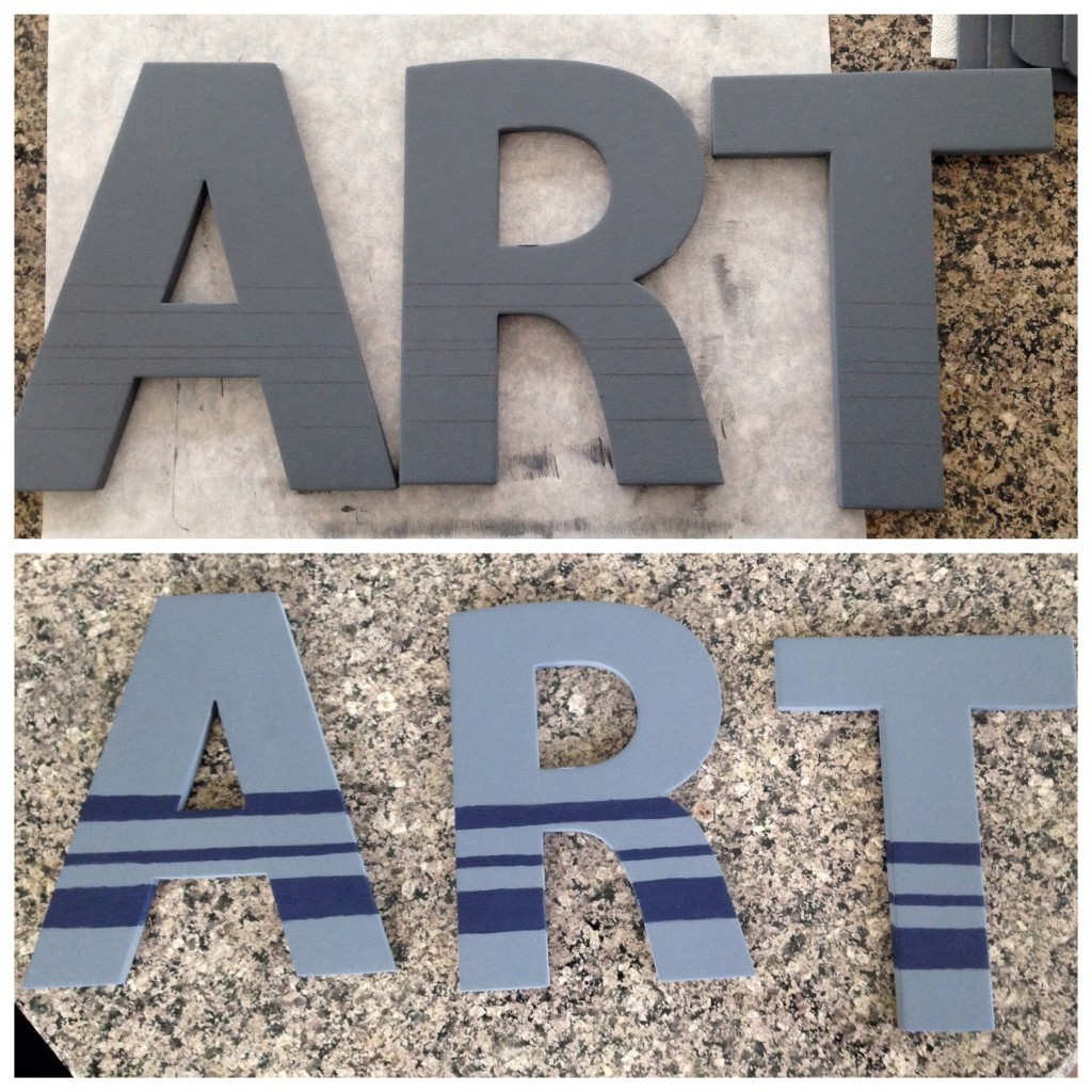 Letters before and after stripes