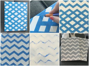 Painting Chevron Stripes on a Canvas